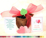 Recycled Ideas Favors plantable paper pots with leaves and love birds