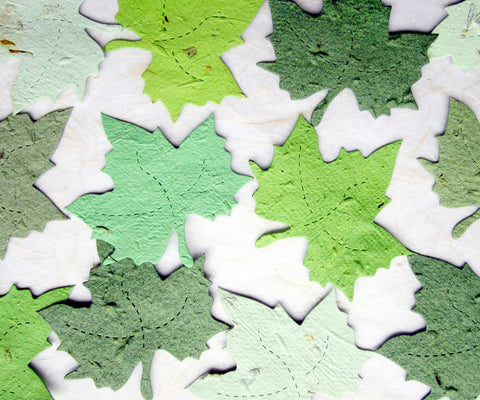 Recycled Ideas Favors plantable paper maple leaves in greens