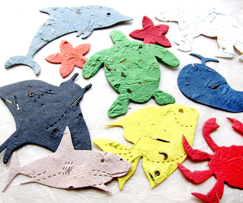 Recycled Ideas Favors plantable paper marine animals
