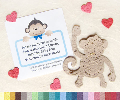 Recycled Ideas Favors plantable paper tan monkey with red mini hearts and card