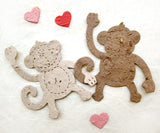 Recycled Ideas Favors plantable paper brown and tan monkeys with red mini hearts