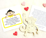 Recycled Ideas Favors plantable paper cream monkey with red and pink mini hearts and card