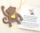 Recycled Ideas Favors plantable paper brown monkey with tied-on yellow mini heart and card
