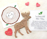 Recycled Ideas Favors plantable paper moose with confetti hearts and cards