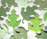 Recycled Ideas Favors plantable paper oak leaves in greens