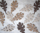 neutral brown handmade plantable paper oak leaves