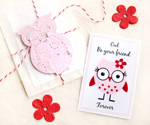 Plantable Paper Owl Be Your Friend Owl Valentines Set Recycled