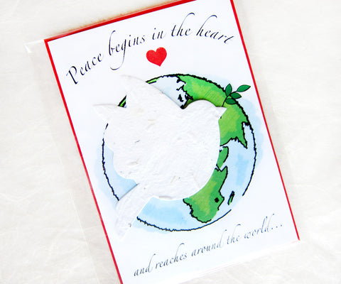 Plantable World Peace Cards - Peace Begins in the Heart and Spreads Around the World - Flower Seed Christmas Cards