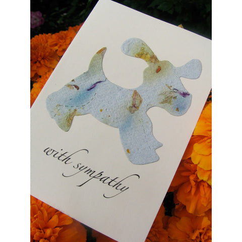 plantable pet sympathy dog card with forget me not flower seeds