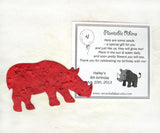 Recycled Ideas Favors plantable paper rhinoceros with card
