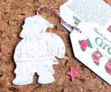 Recycled Ideas Favors plantable paper Santa with gift tag