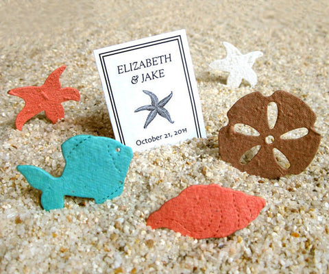 Beach Wedding Favors - Plantable Seed Paper Shells - Plantable Sand Dollars Starfish Conch Fish