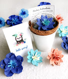 sloth seed paper flowers royal blue with white pail and pot