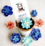 hello spring seed paper flowers teal coral and royal blue with white tin pail