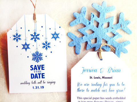 24 Seed Paper Save the Date Cards - Plantable Paper Winter Wedding Announcements Invitations Favors