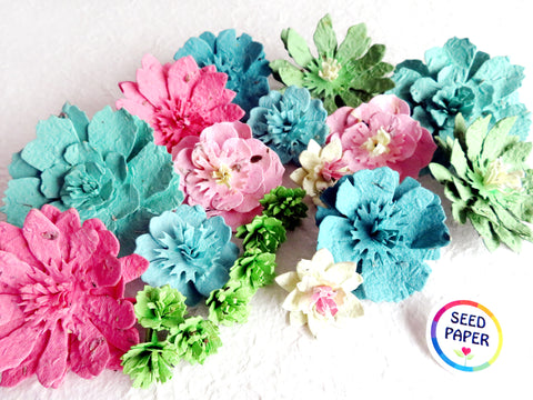 Bright Spring Plantable Paper Flowers - Teals Pinks and Greens