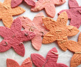 Recycled Ideas Favors plantable paper sea stars in reds and oranges