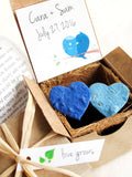 custom seed paper boxes from recycledideas with blue birds
