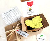Recycled Ideas Favors plantable paper bee valentine favor with box and plantable pot