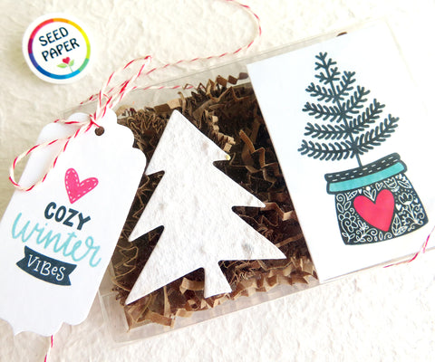 Get Hygge With Seed Paper - Winter Christmas Trees with Flower Seeds - Gift Box