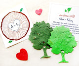 Recycled Ideas Favors plantable paper trees with cards, hearts