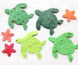 Recycled Ideas Favors plantable paper seat turtles and sea stars