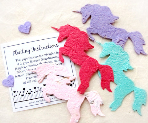 Recycled Ideas Favors plantable paper unicorns flower seed unicorns