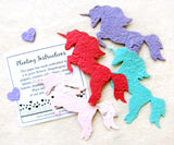 Recycled Ideas Favors plantable paper unicorns red plantable paper aqua plantable paper lilac plantable paper