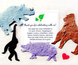 plantable zoo animals with thank you card seed paper gibbon rhino and more