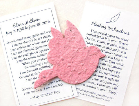 Recycled Ideas Favors plantable paper rose dove with memorial cards