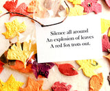 Recycled Ideas Favors plantable paper fall color leaves with poem card