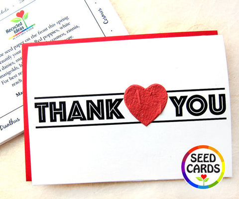 Recycled Ideas Favors thank you card with plantable paper heart
