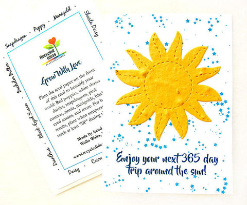 Recycled Ideas Favors plantable paper sun-themed birthday card