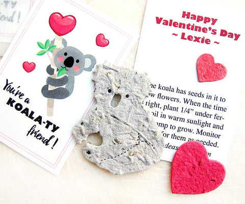 Recycled Ideas Favors plantable paper koala valentine