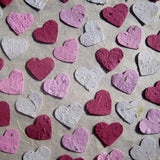 Recycled Ideas Favors plantable paper flower seed hearts in Valentine colors