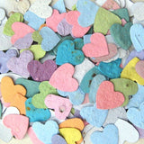 Recycled Ideas Favors plantable paper flower seed hearts in pastel colors