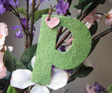 Recycled Ideas Favors plantable paper green P with mini heart