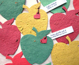 Recycled Ideas Favors plantable paper red, green and yellow apples with tied-on mini heart and tag