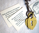 Recycled Ideas Favors plantable gold lock, brown key and tags