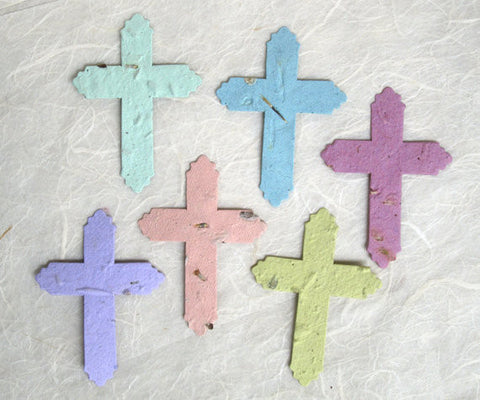 Recycled Ideas Favors plantable seed paper pastel crosses