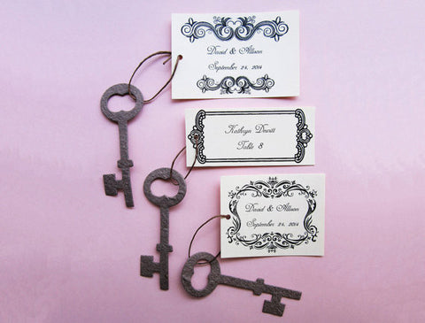 plantable skeleton key wedding favor with custom tags