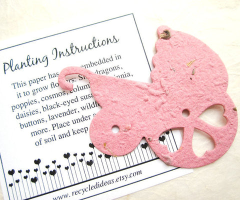 Recycled Ideas Favors plantable paper pink baby carriage with card