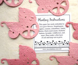 Recycled Ideas Favors plantable paper pink baby carriages with card