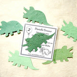 Recycled Ideas Favors plantable paper triceratops with card and bag