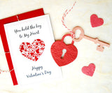 Recycled Ideas Favors Valentine card with plantable seed paper lock, key and hearts