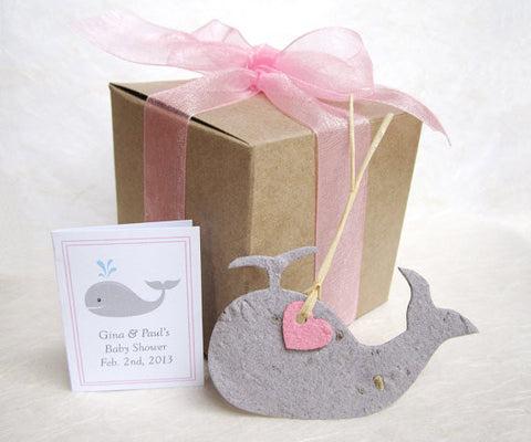 Recycled Ideas Favors plantable paper gray whale with pink mini heart, gift box and card