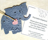 Recycled Ideas Favors plantable seed paper elephant with heart and card