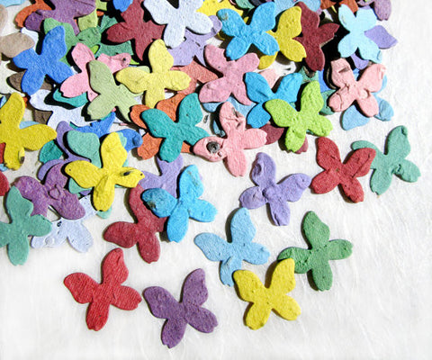 Recycled Ideas Favors rainbow color confetti butterflies