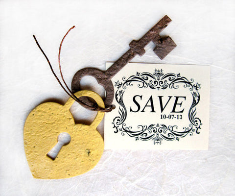 Recycled Ideas Favors plantable gold lock, brown key and tag