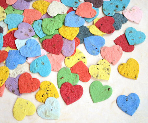 Recycled Ideas Favors plantable paper herb seed hearts in rainbow colors